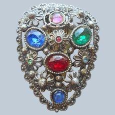 Dress Clip Vintage 1930s Multi Colored Glass Stones Filigree