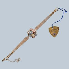 Welsbro Hidden Watch 17 Jewels Original Tag Vintage Faux Pearls Glass Jewels