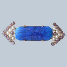 Blue Lapis Color Art Glass Pin Faux Pearls Lavender Glass Stones