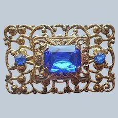 Bright Blue Glass Stones Filigree Pin Vintage Gold Tone
