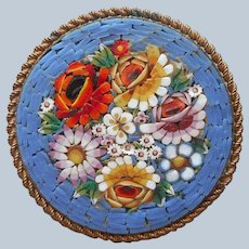Large Italy Mosaic Pin Round Blue Vintage Glass Flowers