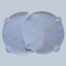 Lamp Doilies Pair Linen Reticella Lace 1920s Vintage All White
