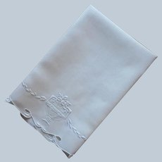 ca 1920 Towel Linen White Work Hand Embroidery Roses Urn Antique