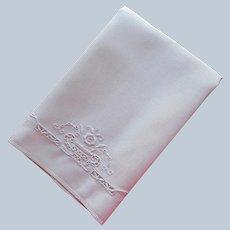 1920s Italian Work Linen Towel Hand Embroidered Cutwork Vintage