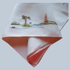 Tea Tablecloth Vintage Linen Hand Embroidery Asian Motifs Tiny Cross Stitching