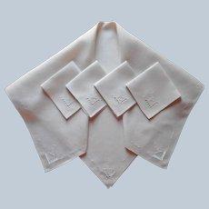Tea Tablecloth 4 Napkins Set Italian Work Embroidery Vintage Linen