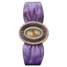 Heidi Daus Watch Purple Turquoise Blue Stones Purple Strap Unworn