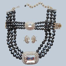 Heidi Daus Tailored To Please Black Necklace Bracelet Earrings Set Glass Crystal