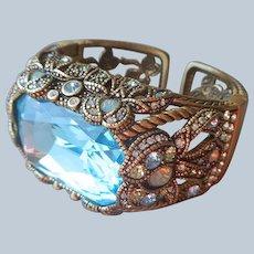 Heidi Daus Irresistible Impressions Bracelet Aqua Hinged Cuff