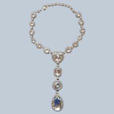 Heidi Daus Necklace Long Big Crystal Drop Heart Unworn