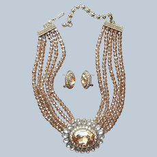 Heidi Daus Dazzling Delight Necklace Earrings Champagne Crystal