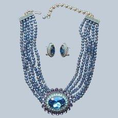 Heidi Daus Dazzling Delight Necklace Earrings Set Blue Crystal Purple