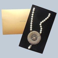Heidi Daus Huge Belgian Disc Necklace Faux Pearls Drop