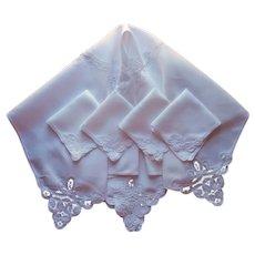 Tea Tablecloth Napkins Set Belgian Tape Lace Linen Vintage All White
