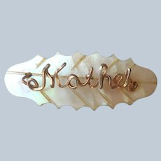 Mother Pin Vintage To Antique Mother Of Pearl Gold Color Wire