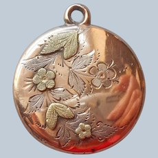 Victorian Charm Pendant Solid Gold Filled Flowers Applied Leaves Antique