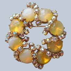 Yellow Opalescent Glass Stones Pin Vintage AB Rhinestones