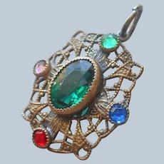 Petite Filigree Colored Glass Stones Pendant Antique
