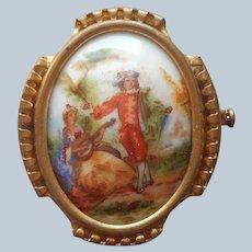 Limoges Porcelain Pin Vintage Courting Couple France