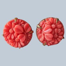 ca 1930 Molded Coral Color Glass Earrings Vintage Screw Back