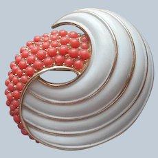Crown Trifari Pin Vintage Faux Coral White Painted Enamel
