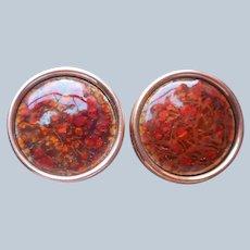Renoir Matisse Earrings Copper Red Enamel Vintage Clip On