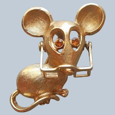 Mouse In Glasses Pin Vintage 1973 Avon Amber Rhinestone Eyes
