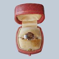 1970s Faux Smoky Quartz Diamond Ring Gold Plated Size 6