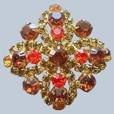 Autumn Colors Rhinestone Pin Vintage Brown Orange Green Gold Tone