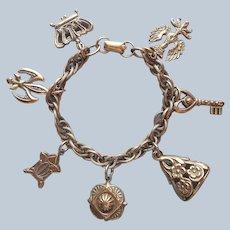 Coro Russian Gold Tone Finish Charm Bracelet Vintage Seal Etc