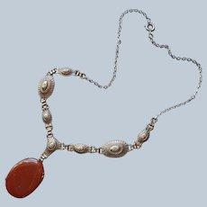 1920s Faux Carnelian Agate Drop Necklace Vintage Art Deco Glass