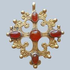 Bronze Carnelian Agate Boyar Cross Pendant Antique