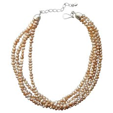 Jay King Golden Freshwater Pearls Sterling Silver Necklace 4 Strand