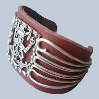 Fritz Casuse Relios Carolyn Pollack Sterling Silver Leather Cuff Bracelet