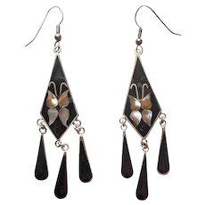 Mexico Black Enamel Abalone Inlay Chandelier Earrings Vintage Pierced Butterflies
