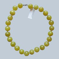 Olive Green Serpentine 16 mm Beads Necklace Sterling Silver Clasp