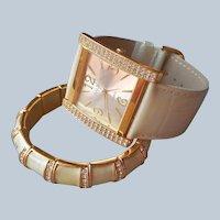 Joan Rivers Classics Watch Matching Bracelet Unworn Cream Leather Rhinestones