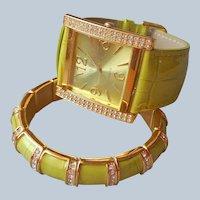 Joan Rivers Classics Watch Matching Bracelet Unworn Chartreuse Leather Rhinestones