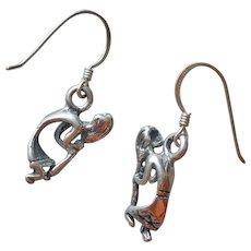 Kokopelli Petite Sterling Silver Pierced Drop Earrings USA Made