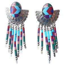 Signed TK Southwestern Pierced Earrings Multi Color Stone Inlay Fringe Sterling Silver