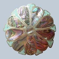 Mexico Sterling Abalone Aqua Inlay Pin Pendant Big Flower Vintage