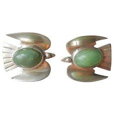 1940s Mexico Sterling Bird Earrings Green Stones Screw Back Vintage