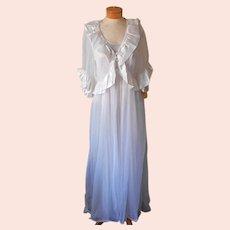 ca 1980 Val Mode Peignoir Peplum Robe Nightgown Set Unworn Tags S Petite