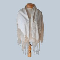 ca 1920 Silk Shawl Piano Type Hand Antique Chinese Embroidered Fringe All Cream Color
