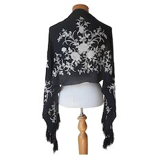 ca 1920 Black Chinese Silk Scarf Shawl Antique White Hand Embroidery