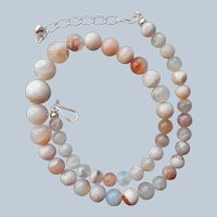 Jay King Cherry Chalcedony Beads Sterling Silver Necklace