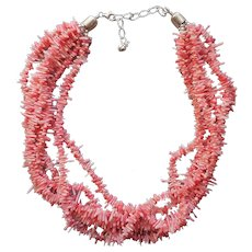 Jay King Pink Branch Coral Necklace Sterling Silver 6 Strands