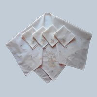 ca 1920 Tea Tablecloth 4 Napkins Antique Hand Embroidered A Bit TLC