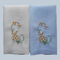 Guest Towels Pair Hand Embroidered Linen Gray Golden Yellow