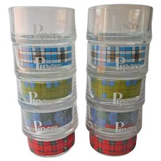 Pipers Scotch Stacking Old Fashioned Glasses Vintage Tartan Barware